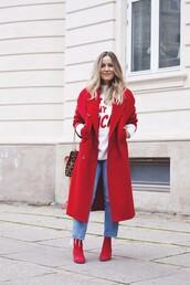 coat,tumblr,red coat,long coat,denim,jeans,blue jeans,sweatshirt,boots,red boots