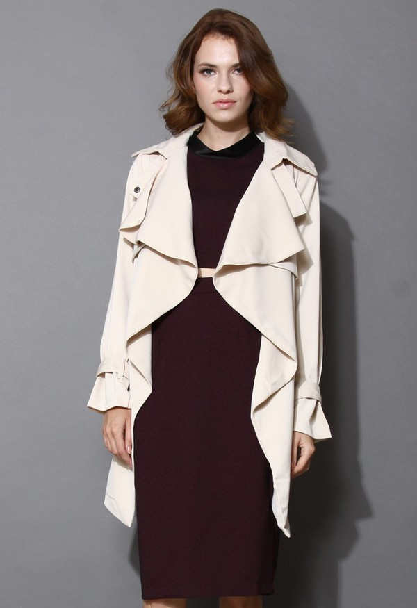 chicwish khaki trench coat waterfall drape
