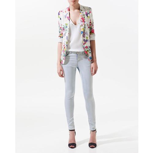 Women Chic Long Sleeve One Button Slim Coat Lady Flower Print Blazer Jacket Suit | eBay