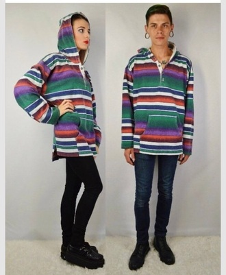 sweater stripes jacket hoodie cute vintage pullover grunge hippie mens women's rasta flannel