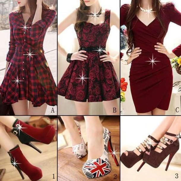 dress black plaid red red dress skater dress burgundy dress