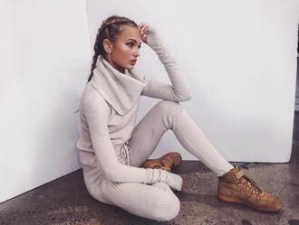 sweater turtleneck turtleneck sweater leggings romee strijd sneakers instagram model