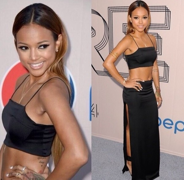 blacklongskirt aaliyahredcarpetstyle blackbellyshirt black tank top karrueche bellyshirt jewels skirt