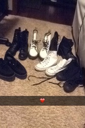 shoes,scene,emo,hipster,indie,cute,grunge,love,shoe collection,converse,alternative,DrMartens,creepers,high heels,combat boots