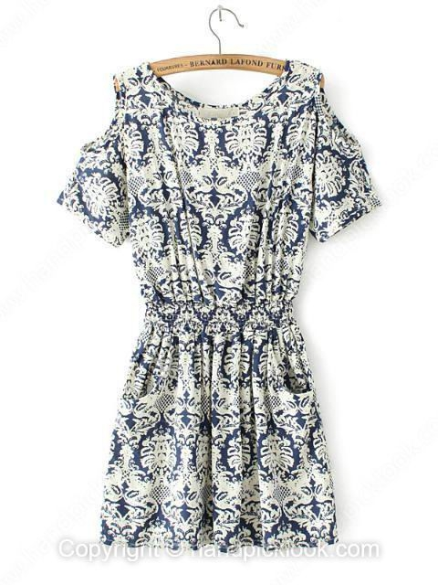 Navy Round Neck Short Sleeve Vintage Floral Print Dress - HandpickLook.com