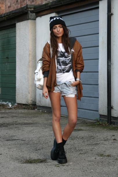 supreme beanie brown coat denim shorts creepers white tee grey hoodie white bag coat hat shorts