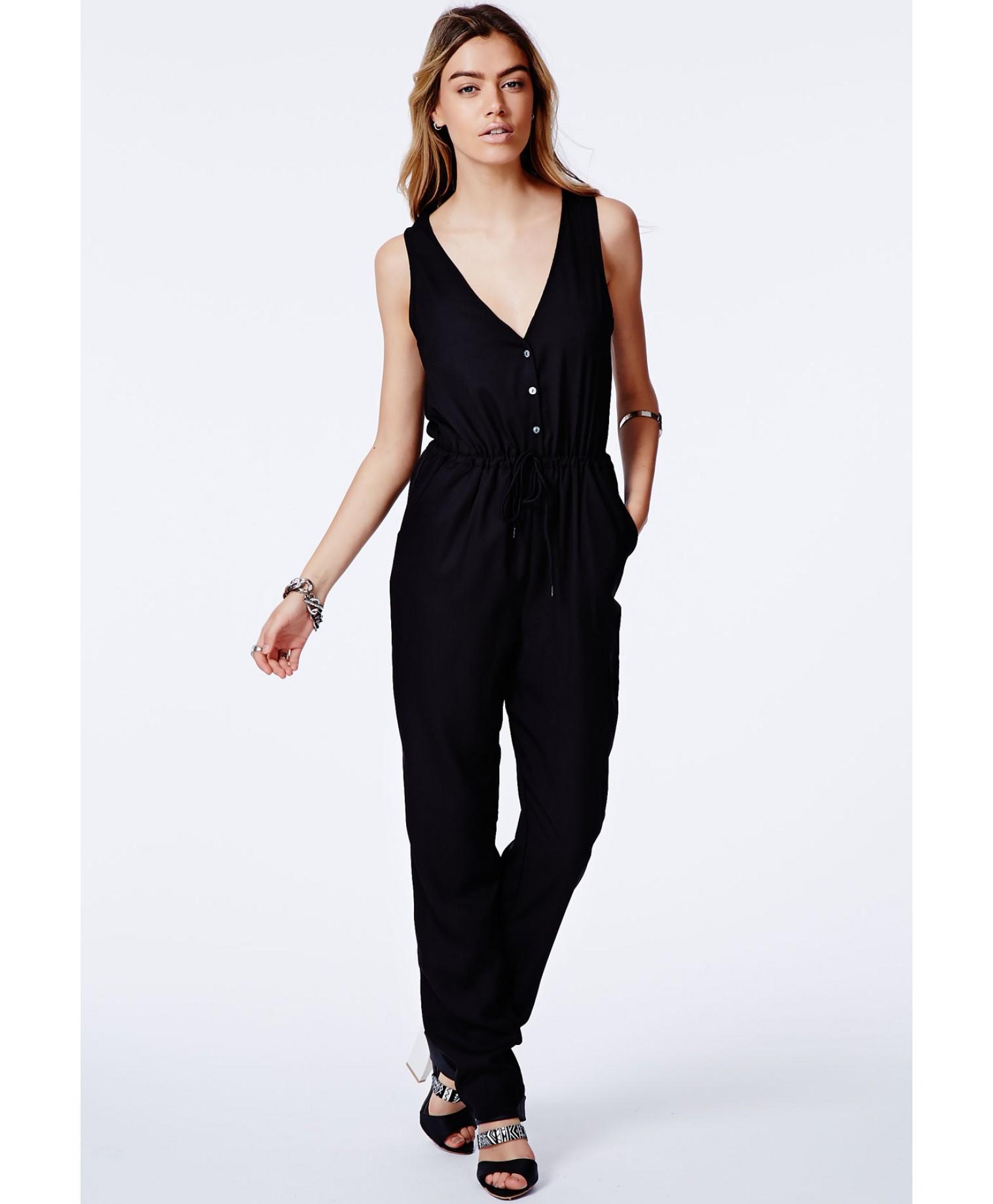 Julija black button front jumpsuit