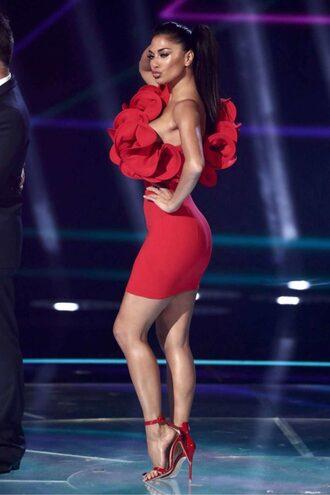 dress red dress red sandals mini dress ruffle asymmetrical one shoulder nicole scherzinger