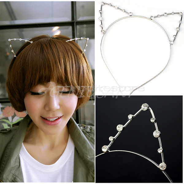 Fashion Women Girls Cat Ears Faux Rhinestones Alloy Headband Hair Band Cute Hot | eBay