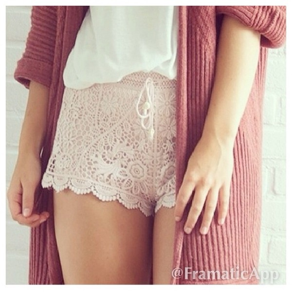 shorts lace nude