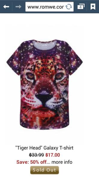 t-shirt leo leopard galaxy animal face print