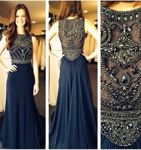 robe de soiree 2014 New Sexy Sleeveless Scoop Neckline Dark Blue Chiffon Beaded Evening Dresses Long Prom Gowns BO5235-in Evening Dresses from Apparel & Accessories on Aliexpress.com