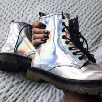 shoes holographic metallic shiny grunge combat boots
