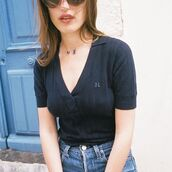 top,rouje,jeanne damas,french girl style,blue top,v neck,jeans,blue jeans,necklace,rouje.com