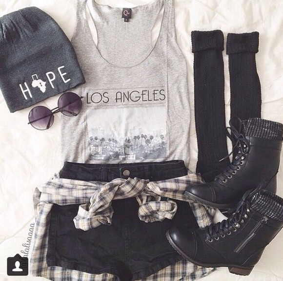 print los angeles knee high socks boots hope beenie socks sunglasses blouse selena gomez miley cyrus shirt rhianna outfit