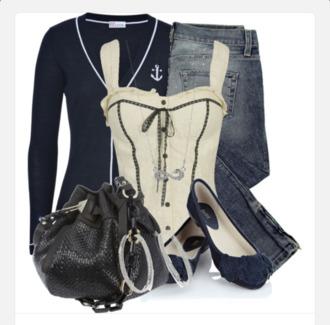 shirt corset top sailor bows cream top formfitting buttons