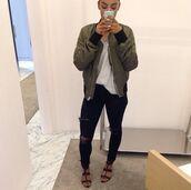 jacket,bomber jacket,khaki,black jeans
