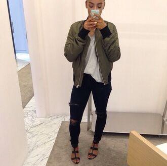 jacket bomber jacket khaki black jeans