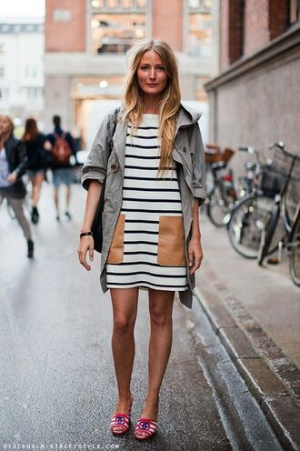 dress stripes pockets shift dress pocket dress mini dress streetstyle spring outfits striped dress jacket army green jacket mules slide shoes pocket jacket