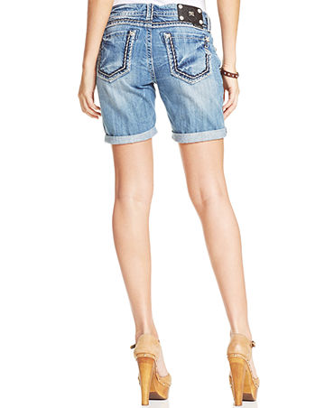 Miss Me Distressed Boyfriend Denim Shorts - Shorts - Women - Macy's