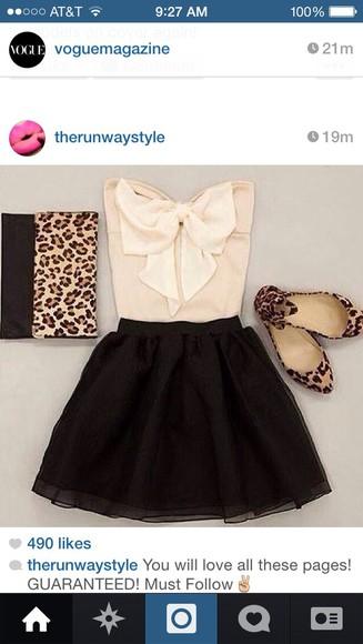 clutch blouse outfit flats leopard print