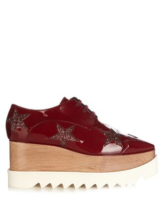 shoes platform shoes lace burgundy