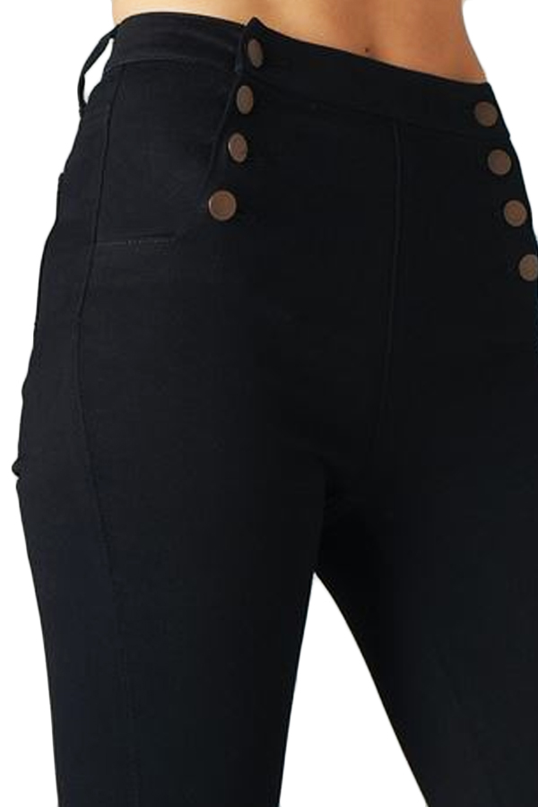 Waisted Sailor Button Black Denim Skinny Jeans — SIMPLY CHIC