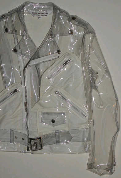 jacket clear plastic comme de garçons clear jacket plastic jacket biker cyber 90s Belt zippers zipper jacket see through