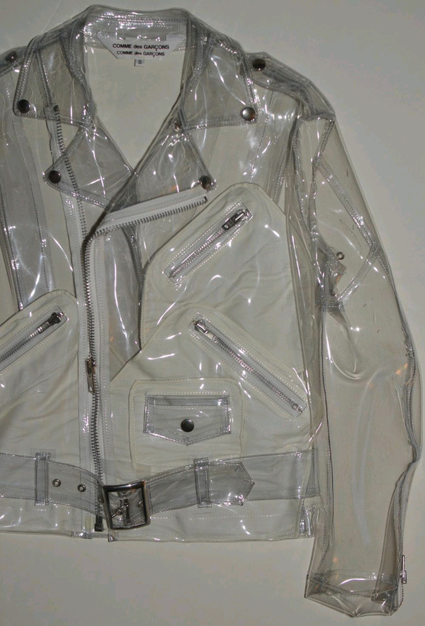 jacket belt see through plastic perfecto zip 90s style cream cream coat waterproof jacket cream jacket biker jacket biker leather leather jacket instagram instagram clear transparent transparent jacket