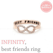 jewels,jewelry,ring,infinity ring,best friends infinity ring,pink ring,bff,bff rings,crystal,infinity,best,forever,rose gold,sparkle