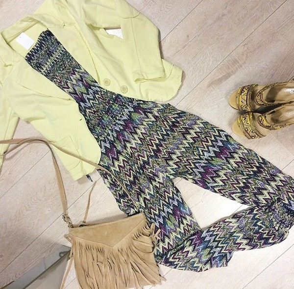 jumpsuit colorful one piece one piece outfit blazer yellow yellow blazer purse sandals bag jacket