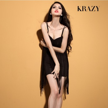 women polyester latin long bandage tassel fringe bandage flapper dress low cut sexy spaghetti strap black and red-inDresses from Apparel & Accessories on Aliexpress.com