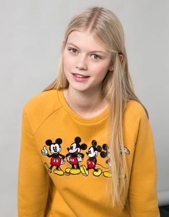 sweater bershka mustard disney mickey mouse jumper sweatshirt cute pretty tumblr