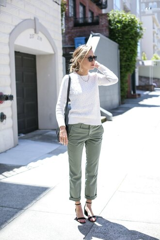 the classy cubicle blogger pants sweater shoes bag sunglasses jewels