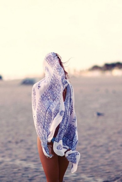 boho blue white scarf