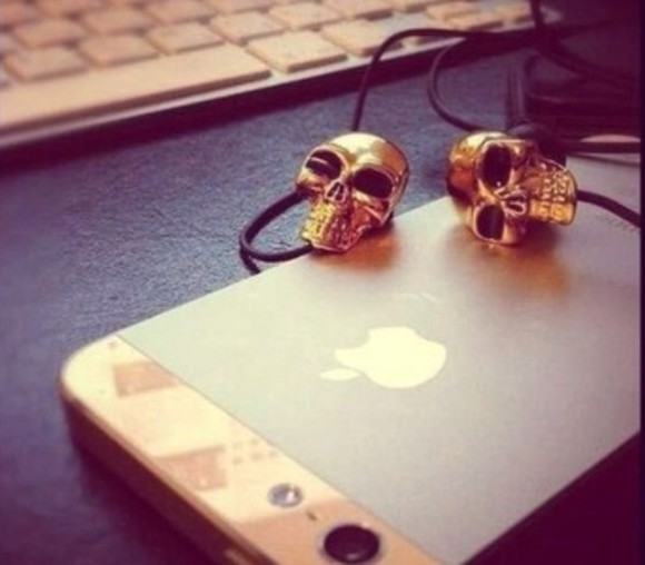 skull jewels gold headphones deadhead cool