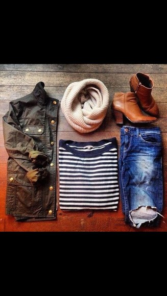 scarf jacket shoes shirt jeans