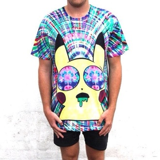 shirt trippy tie dye pink black pikachu drugs green yellow bright t-shirt casual mens t-shirt