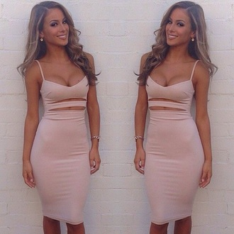 dress tight fitting bodycon skin skintight nude peach pale skin colour colorful straps cut out hole sexy revealing