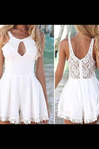 white dress summer dress spring outfits style cute dress cut-out dress short party dresses short dress
