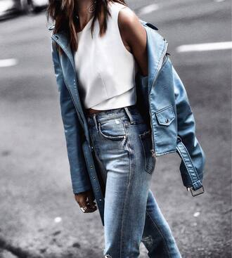 jacket blue jacket tumblr leather jacket white top crop tops jeans denim blue jeans top