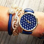 jewels,blue,royal blue,jewelry,diamonds,anchor,preppy,prep,watch,pretty,cute,i want this!! gorgeous,gorgeous,navy watch anchors