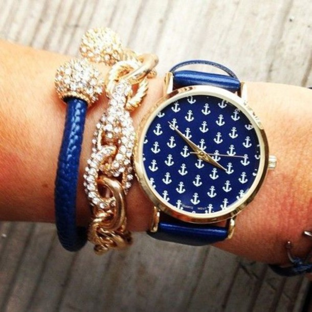 jewels blue royal blue jewelry diamonds diamonds anchor preppy prep watch pretty cute i want this!! gorgeous gorgeous navy watch anchors