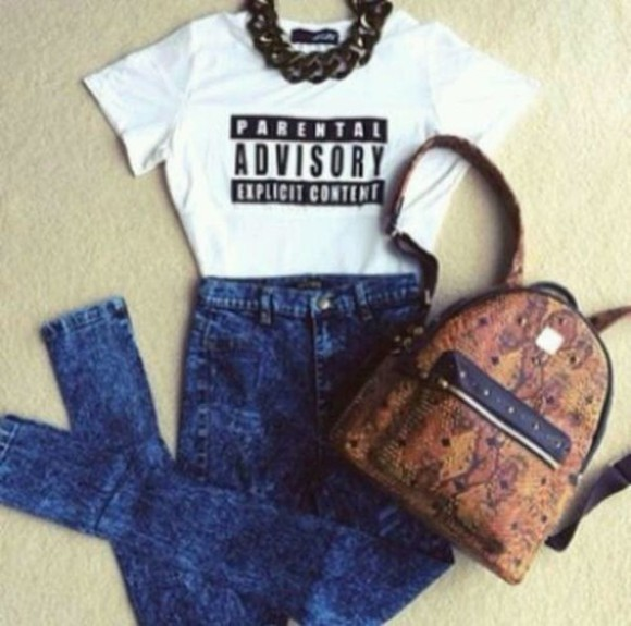 bag leather jeans high waisted jeans parental advisory explicit content snake print necklace acid wash jeans school bag