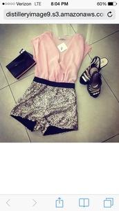 romper,pink,glitter,cute