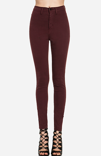 Dailylook: high waist skinnies in burgundy 5