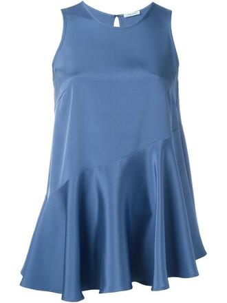 tank top top women spandex blue silk