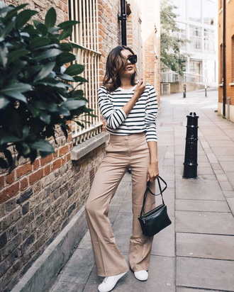 pants nude pants tumblr wide-leg pants sweater stripes striped sweater sneakers white sneakers low top sneakers bag black bag knit knitted sweater