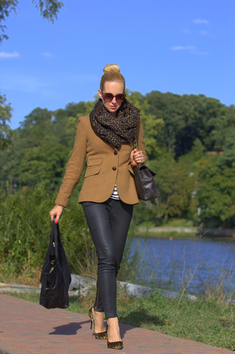 brooklyn blonde jacket t-shirt scarf shoes pants bag jewels