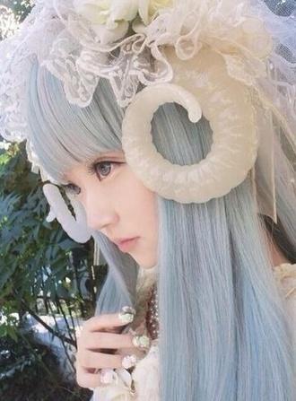 horn japanese kawaii cosplay pastel hair hat hair accessory